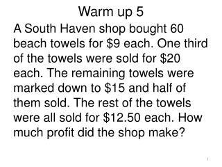 Warm up 5