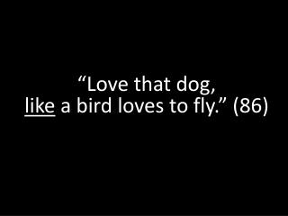 """""""Love that dog,  like  a bird loves to fly."""" (86)"""