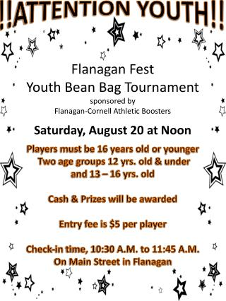 Flanagan Fest Youth Bean Bag Tournament sponsored by Flanagan-Cornell Athletic Boosters