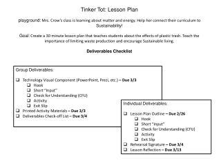 Tinker  Tot:  Lesson Plan