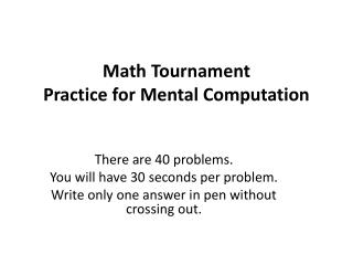 Math Tournament Practice for Mental Computation