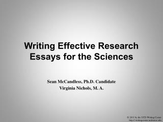 Writing Effective Research Essays for the Sciences