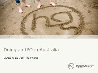 Doing an IPO in Australia