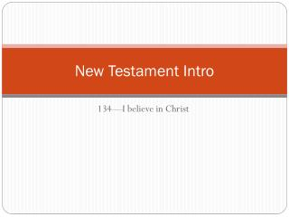 New Testament Intro