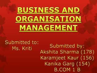 BUSINESS AND ORGANISATION MANAGEMENT