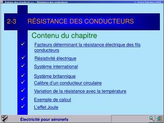 2-3 R SISTANCE DES CONDUCTEURS
