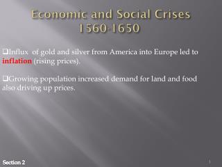 Economic and Social Crises 1560-1650