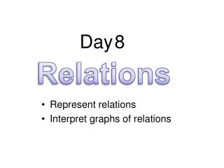 Represent relations  Interpret graphs of relations