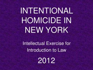 Intellectual Exercise for Introduction  to Law