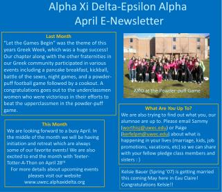 Alpha Xi Delta-Epsilon Alpha  April E-Newsletter
