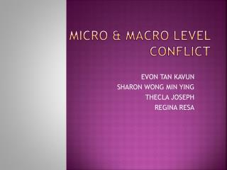Micro & Macro  L evel  C onflict