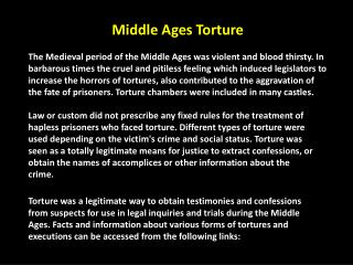 Middle Ages Torture