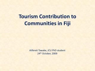 Tourism Contribution to Communities in Fiji