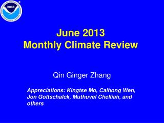 June 2013 Monthly Climate Review