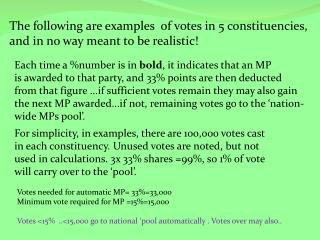 The following are examples  of votes in 5 constituencies,   and in no way meant to be realistic!