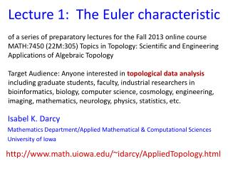 Lecture 1:  The Euler characteristic