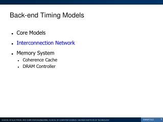 Back-end Timing Models