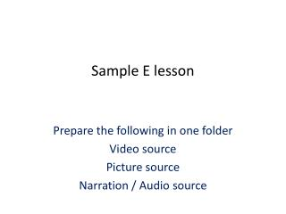 Sample E lesson