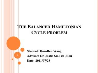 The Balanced Hamiltonian Cycle Problem