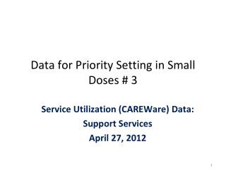Data for Priority Setting in Small Doses # 3