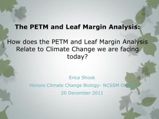 Erica Shook Honors Climate Change Biology- NCSSM Online 20 December 2011