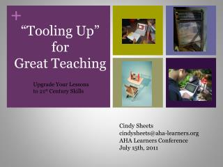 """Tooling Up"" for  Great Teaching"
