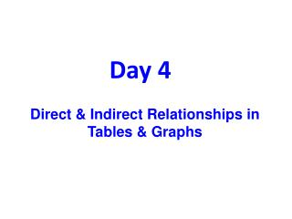 Direct & Indirect Relationships in  Tables & Graphs