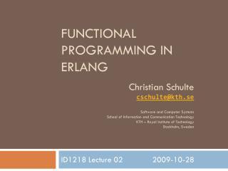 Functional Programming in Erlang