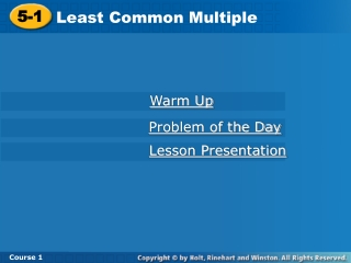 4-7 Using the Least Common Multiple LCM