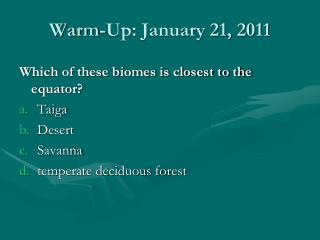 Warm-Up: January 21, 2011