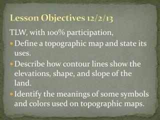 Lesson  Objectives 12/2/13