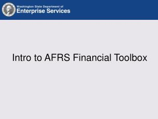 Intro to AFRS Financial Toolbox