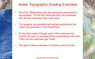 Notes: Topographic Grading Exercises