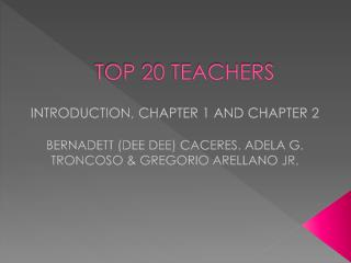 TOP 20 TEACHERS