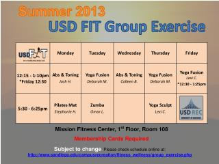Mission  Fitness Center , 1 st  Floor,  Room  108 Membership Cards Required