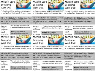 FREE  FIT CLUB-  Bootcamp Work-Out!