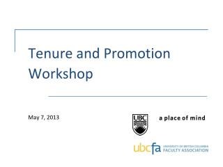 Tenure and Promotion Workshop