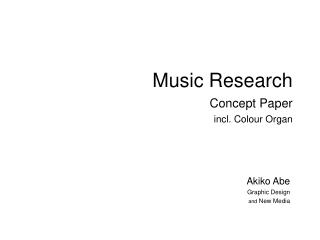 Music Research Concept Paper incl. Colour Organ