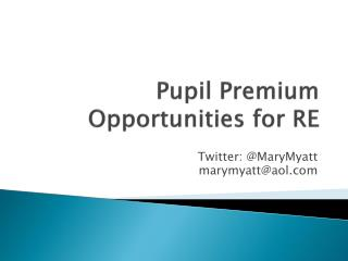 Pupil Premium Opportunities for RE