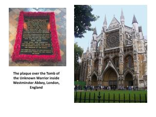 The plaque over the Tomb of the Unknown Warrior inside Westminster Abbey, London, England