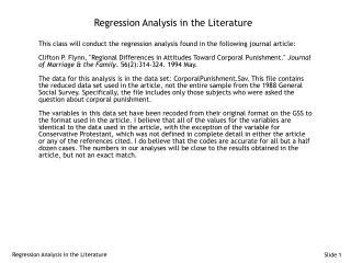 Regression Analysis in the Literature