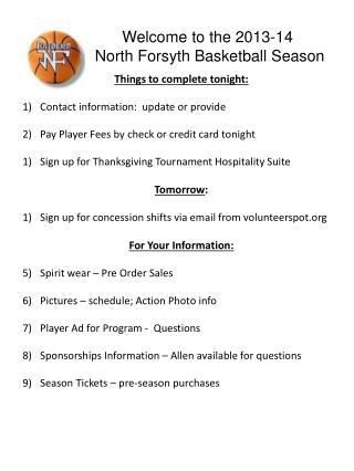 Welcome to the  2013-14 North Forsyth Basketball Season