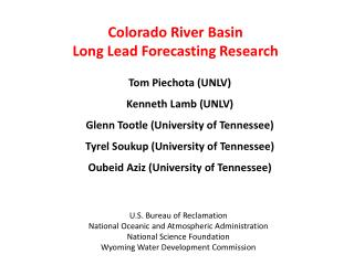 Colorado River Basin  Long Lead Forecasting Research