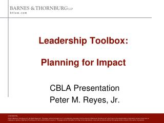Leadership Toolbox: Planning for Impact