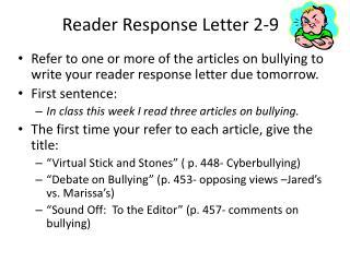 Reader Response Letter 2-9