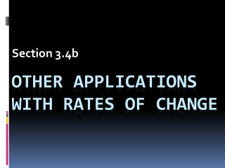 Other applications with rates of change