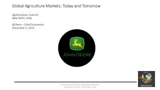 Global Agriculture Markets: Today and Tomorrow Brief Historic Review (2000-2013)