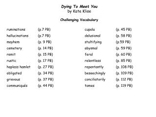 Dying To Meet You  by Kate  Klise Challenging  Vocabulary
