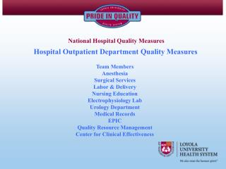 Hospital Outpatient Department Quality Measures