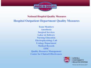 Hospital Outpatient Department Quality Measures